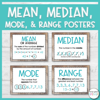 mean median mode and range posters by keep your chin up tpt