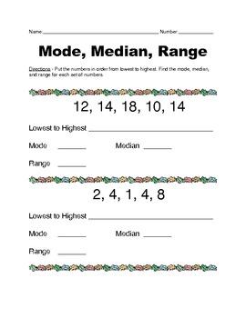 Median, Mode, Range worksheet