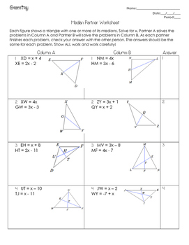 Medians (Centers of Triangles) Partner Worksheet