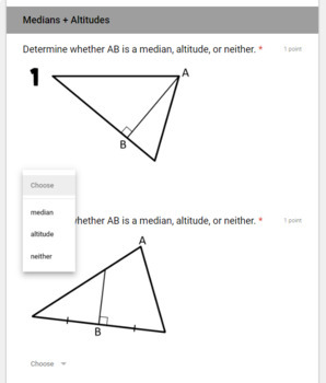 Medians and Altitudes/ Centroid and Orthocenter- for use with Google Forms