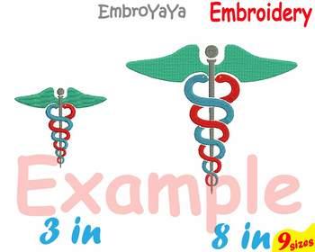 Medic Symbol Embroidery Machine digital 4x4 5x7 hoop Stethoscope Science 81b