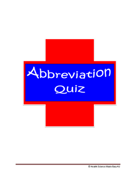 Medical Abbreviations Quiz (Set 1)