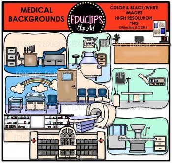 Medical Backgrounds Clip Art Bundle {Educlips Clipart}