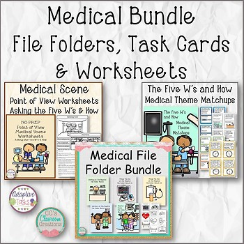 Medical Bundle File Folders, Task Cards and Worksheets