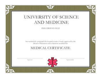Medical Interns: Medical Certificate