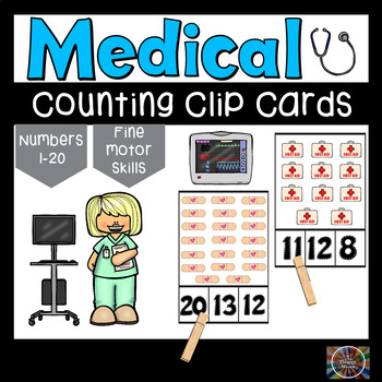 Medical Clothespin Counting Number Clip Cards Numbers Task Math Activity ABA