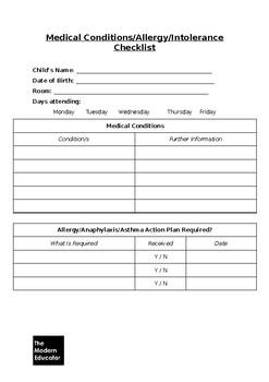 Medical Conditions/Allergy/Intolerance Checklist
