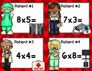 Medical Multiplication Scoot Game (with editable doctor badge)