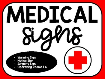 Medical/Hospital Signs for Surgery Classroom Transformation