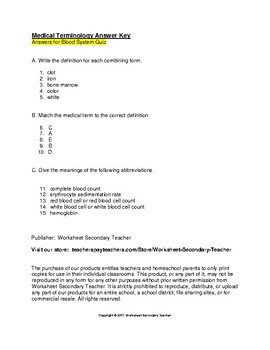 Medical Terminology Blood System Quiz with Key