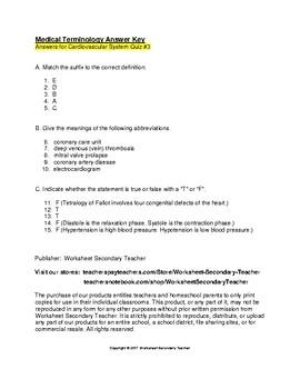 Medical Terminology Cardiovascular System 3 Quiz Pack
