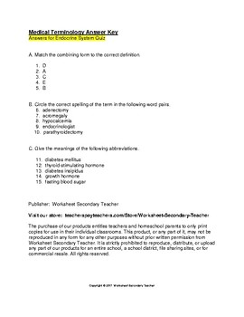 Medical Terminology Endocrine System Quiz with Key