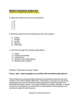 Medical Terminology Integumentary System 2 Quiz Pack