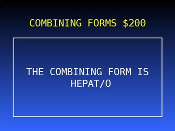 Medical Terminology Jeopardy Game #2