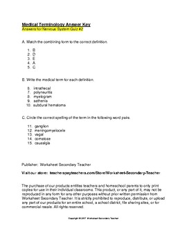 Medical Terminology Nervous System 2 Quiz Pack