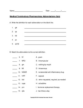 medical terminology pharmacology abbreviations quiz with answer key