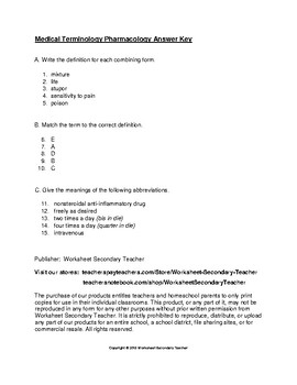 Medical Terminology Pharmacology Quiz with Answer Key