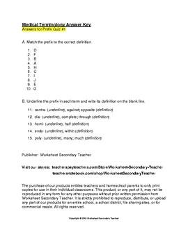 Medical Terminology Prefix 2 Quiz Pack