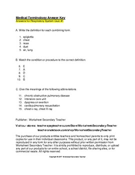 Medical Terminology Respiratory System 3 Quiz Pack