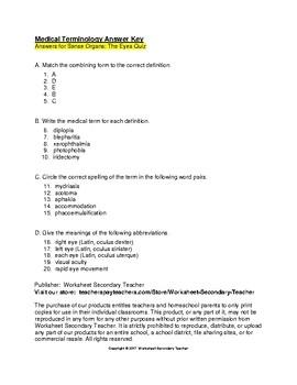 Medical Terminology Sense Organs Quiz: The Eyes with Key