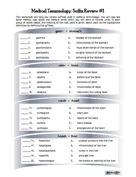 Medical Terminology:  Suffix Review