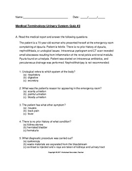 Medical Terminology Urinary System 3 Quiz Pack