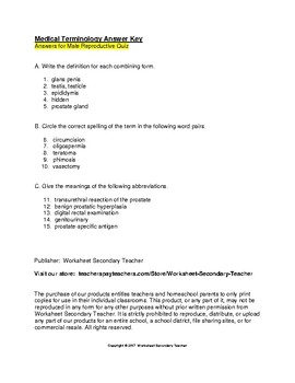 Medical Terminology Male and Female Reproductive Systems 2 Quiz Pack