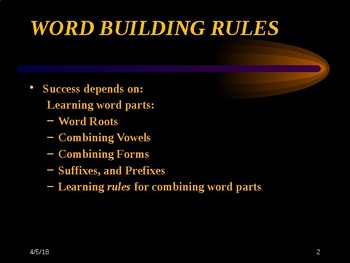Medical Terminology Word Building Rules