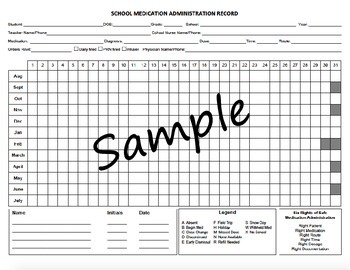 Medication administration record mar school nurse by for Mar template nursing