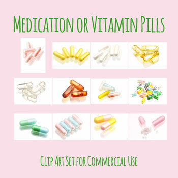 Medication or Pills in Pastel Colors Photo Clip Art Set for Commercial Use
