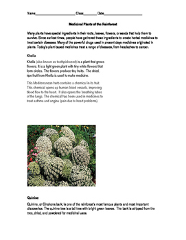 Medicinal Plants Text and Task