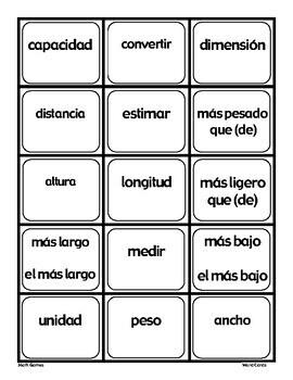 Medidas - Tarjetas De Intercambio - Spanish Math Vocabulary Games