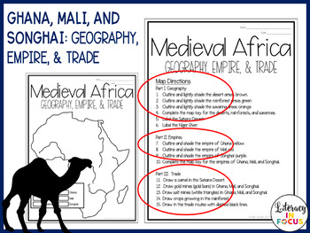 Songhai Africa Map.Medieval African Empires Of Ghana Mali And Songhai Map Lesson