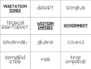 Medieval Africa Word Sort - Introduction Activity