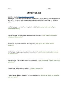 Medieval Art Webquest - Bilingual Spanish/English