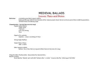 Medieval Ballads Lesson plan