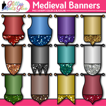 Medieval Banner Clip Art {Middle Ages Castle & Rampart Flags for Social Studies}