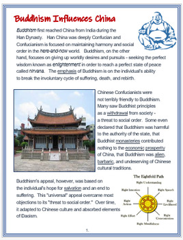 """Buddhism Influences Medieval China"" + Assessment"