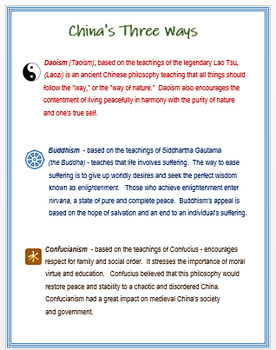 """China's 3 Ways""""  Primary Source Activity / Assessment"""