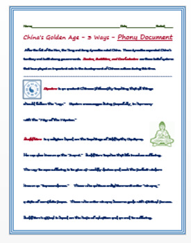 "Medieval China - China's Golden Age -  ""The 3 Ways""  Phony Document"