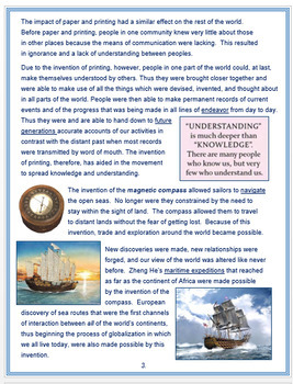 """Medieval China - """"Chinese Innovations that Changed the World"""" + Assessment"""
