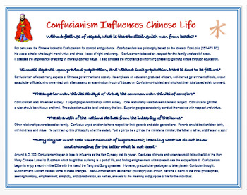 """""""Confucianism Influences Medieval Chinese Life"""" + Quiz"""