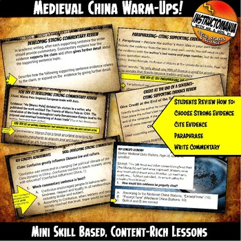Medieval China Investigation Warm-Ups Skill Based, Content Rich Mini Lessons