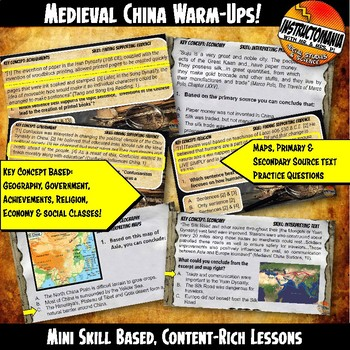 Medieval China Investigation Warm-Ups Skill Based, World History Mini Lessons