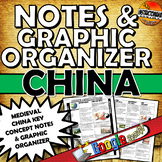 Medieval China Notes and Graphic Organizer or Worksheet