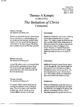 Medieval Christian Commentaries; From St. Augustine to Thomas A Kempis