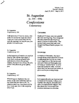 Medieval Christian Commentaries; From St. Augustine to Tho