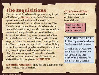 Medieval Church Reading Activities
