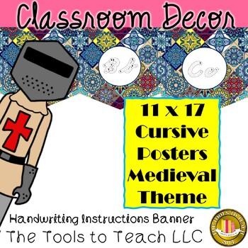 Medieval D'Nealian Cursive Alphabet Classroom Banner Learning Decor