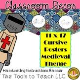 Medieval Cursive Alphabet Classroom Pennant Banner Decor